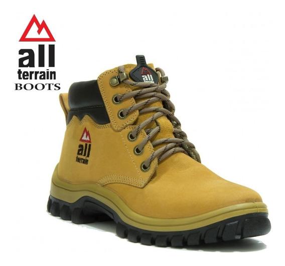 Bota Coturno All Terrain Mostarda Casual Unissex Cadarço Atr Original Boots
