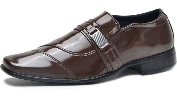 Sapato Social Masculino Couro Classico Liso Almofadado Liso