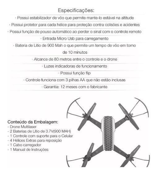 Drone Shark C/ Câmera Hd Wi-fi Controle - Suporte Smartphone