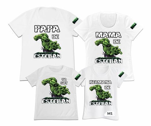 Camiseta Set 4 Papa Mama Hijo Hulk Marvel Personalizada