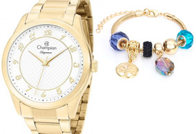 Relógio Champion Feminino Dourado Cn27723s + Pulseira