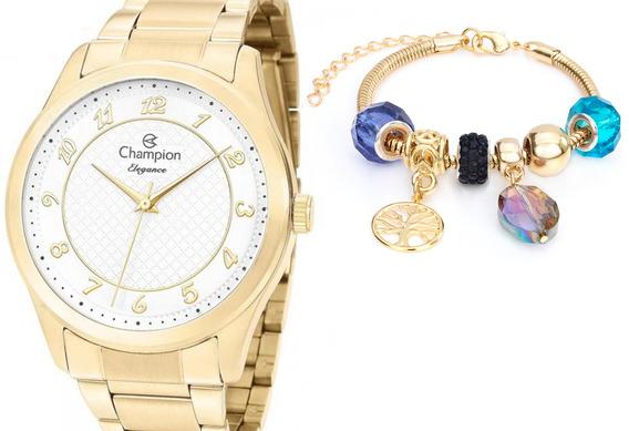 Relógio Champion Feminino Dourado + Pulseira