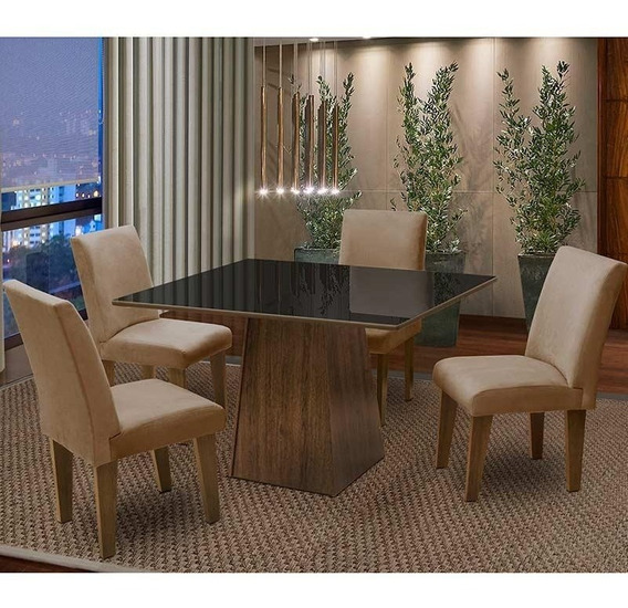 Conjunto De Mesa Com 4 Cadeiras Florença Dobue. - Castanho