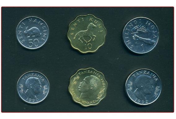Tanzania Set De 3 Monedas Sin Circular Fauna