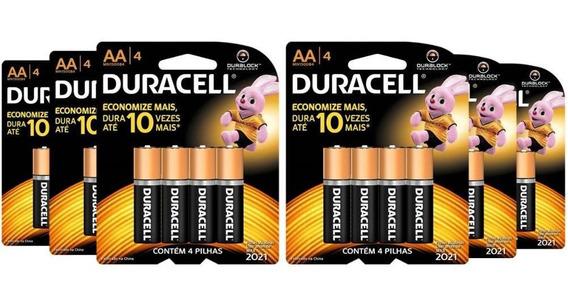 Kit Duracell Duralock Pilha Alcalina Aa Com 24 Unidades