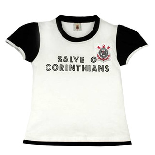 Camisa Baby Look Corinthians Glitter Oficial Menina Revedor