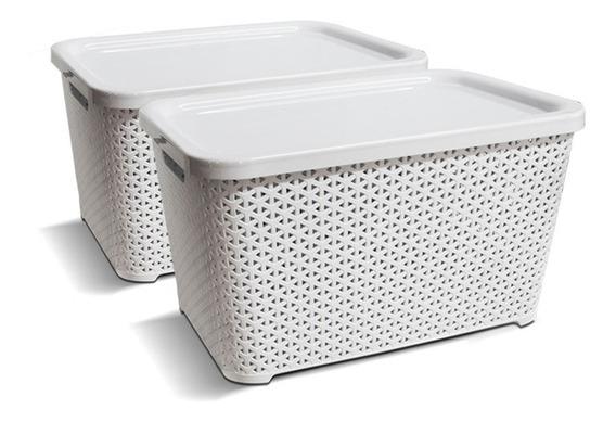 Canastos Organizador Plastico Apilable Ratan Mediano Tapa X2 Colombraro