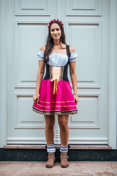 Traje Típico Oktoberfest Feminino (vestido Completo+meia)