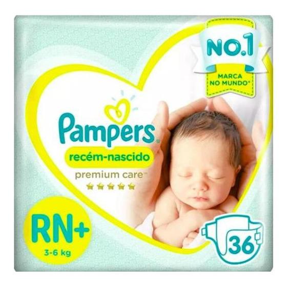 Fralda Pampers Premium Care Recém Nascido Plus 36un 3 À 6 Kg