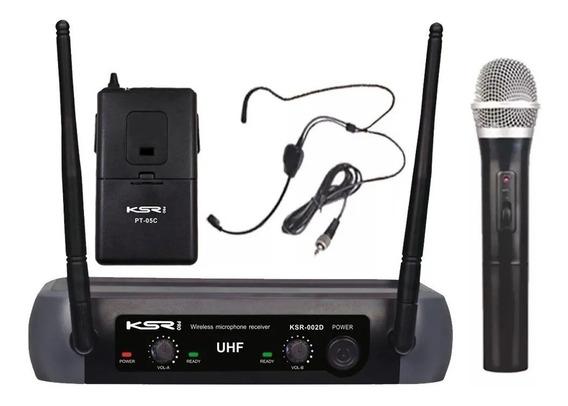 Microfone Sem Fio Duplo Ksr 002-d De Mão E Headset P/cabeça