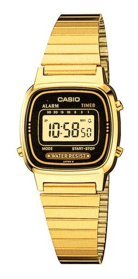 Relógio Casio Vintage Feminino Dourado Digital La670wga-1df