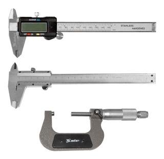 Kit De Medição Paquímetro Digital + Analógico + Micrômetro