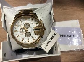 Relógio Diesel 10bar Ouro Com Fundo Branco Dz4360