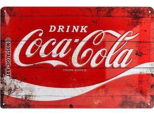 Coca Cola Placa Metálica Roja 30 X 20 Cm