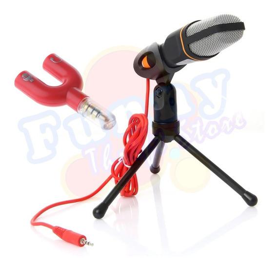Microfone Condensador Gravação Com Fio Grátis Adaptador P3