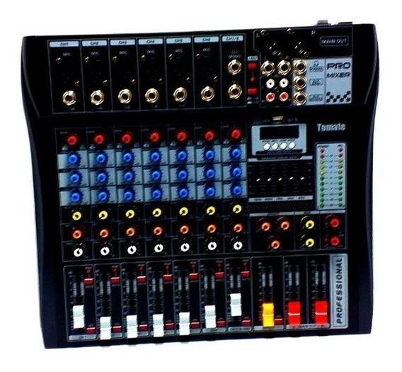 Mesa De Som Bluetooth Usb Mixer Mp3 Digital 8 Canais Tyt008