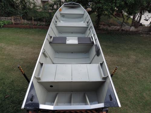 Barco De Alumínio Semi Chata 5 M Com Carreta Rodoviária