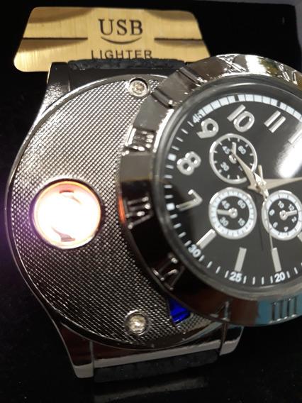 Relógio Isqueiro Recarregável Na Usb