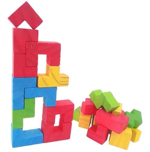 Juego Simil Tetris De Madera Didáctico
