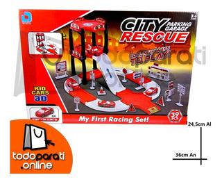 Pista De Carreras Con Garage 2 Pisos City Rescue
