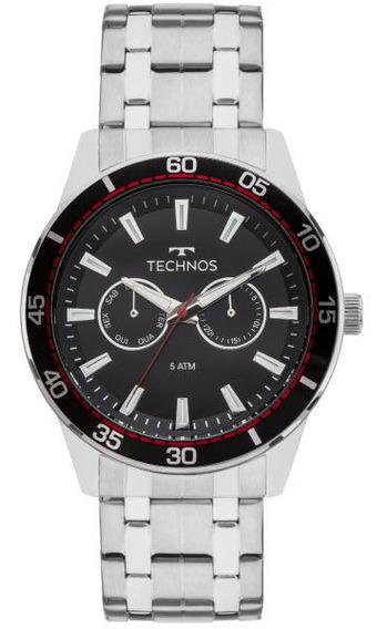 Relógio Technos Masculino Prata/vermelho Aço 6p25bo/1p