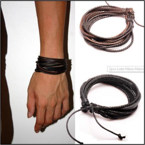 Pulseira Couro Masculino Feminino Bracelete Ajustavel Tribal