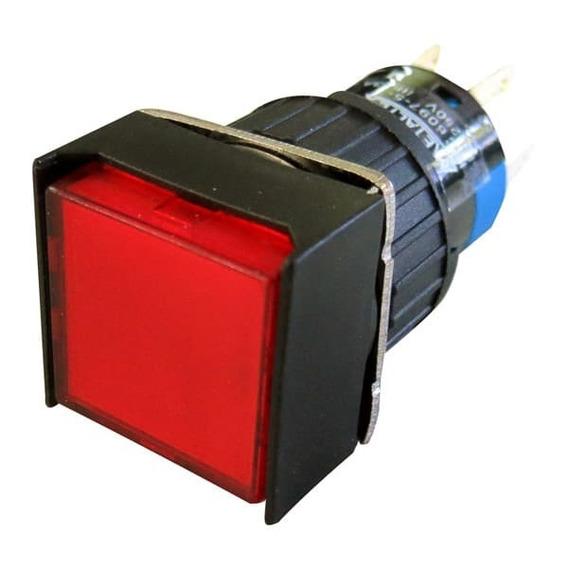 Pulsador Iluminado 16mm Quadrado S/ Retenção-vermelho 220v-