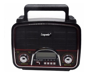 Rádio Retrô Vintage Ecopower Amfm Recarregável Usb Sd Barato