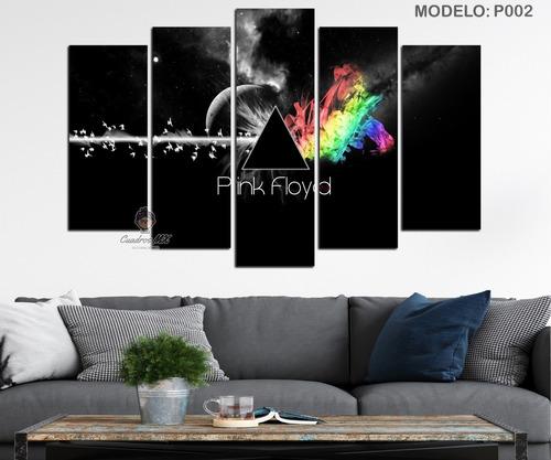 Imagen 1 de 3 de Cuadros Decorativos Pink Floyd Quíntuple 86x56cm
