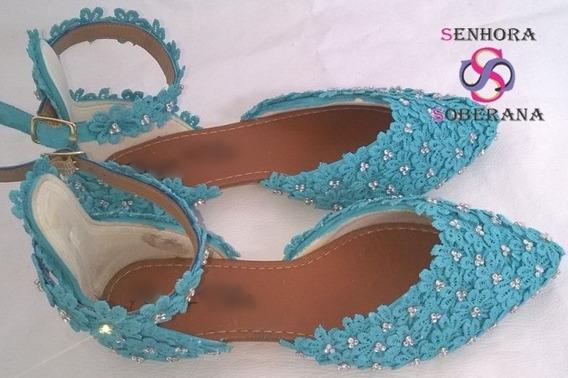 Sapatilha Azul Tifany Florada Brilho (madrinhas)(noivas)