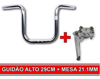 Kit Conforto De Bicicleta Guidão Alto 29 Cm + Mesa 21.1mm Prata Super Confortável Volte A Pedalar