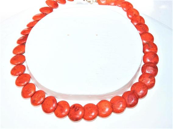 Collar Coral Manzana 17 Mm Moneda 46 Cm