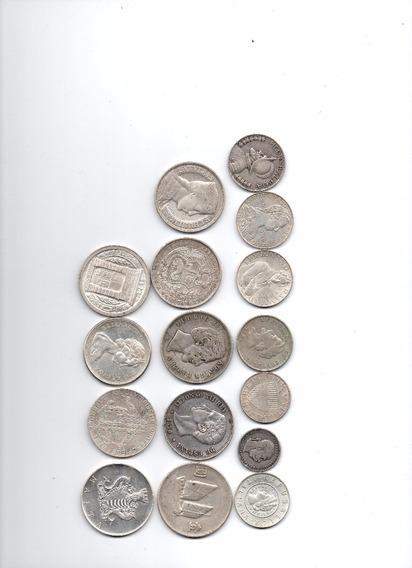 Lote De 16 Monedas De Plata Diversos Tamaños Y Paises