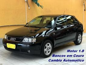 Audi A3 Preta, 4 Portas, 1.8 Automatica, Bancos Em Couro
