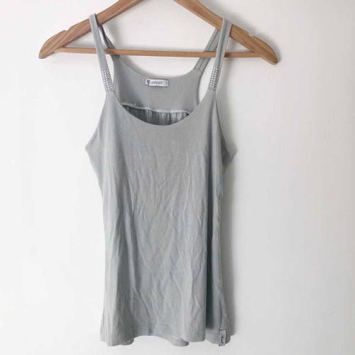 Musculosa Sweet Color Gris - Con Strass - S / M