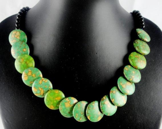 Colar Feminino Jaspe Sedimentar Verde E Onix Natural J1798