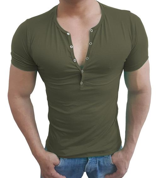 Camisa Henley Viscose Camiseta Slim Botão Manga Curta Sjons