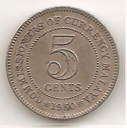Malaya Britanica, 5 Cents, 1950. Vf+ / Xf