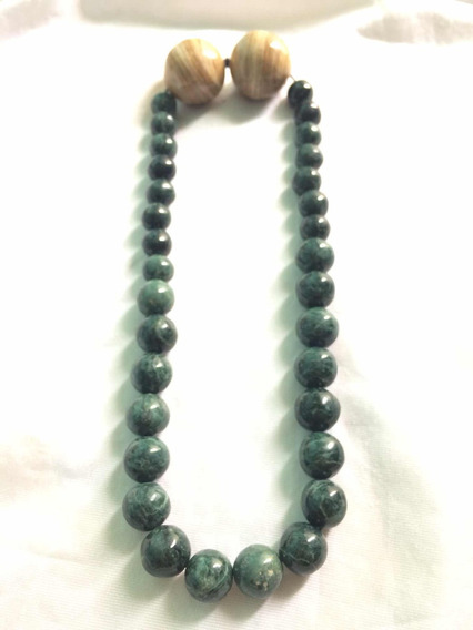 Collar De Piedra Natural Jade Con Esferas De Madera