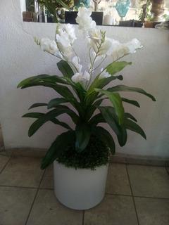 Maceta Con Iluminación /luz Y Planta Artificial Orquídea