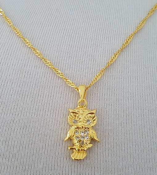 Pingente Coruja Cristal + Gargantilha Banhada Ouro. C1p265