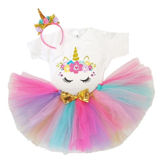 Tutú Unicornio Disfraz Con Playera Y Cuernito 2 A 4 Años