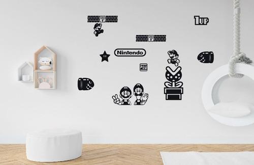 Imagen 1 de 4 de Pack Adhesivo Nintendo Mario Bros Vinilo Decorativo Gamer