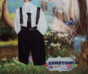 Conjunto Infantil Suspensório Completo Camisa Gravata Calça
