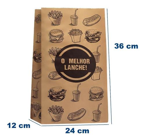 Saco Papel Kraft- Gg -24x36-impresso Genérico Fast Food 100u