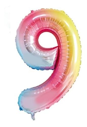 Imagem 1 de 1 de Balão Metalizado Número 9 Degrade - 16  40cm - 1 Unidade - R