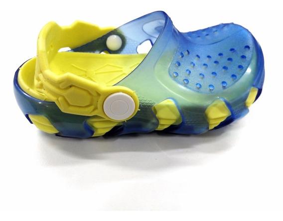 Sapato Infantil Yuupiii Transparente Azul/amarelo Babuche