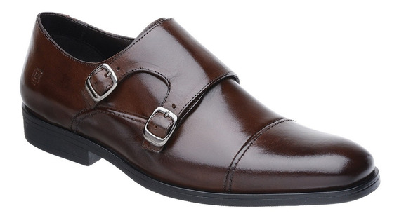 Sapato Masculino Monk Malbork Couro Café Solado Comfort