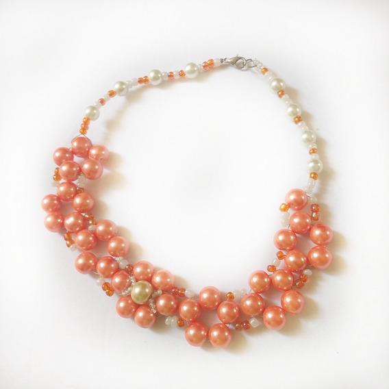 Collar De Perlas Color Coral Hecho A Mano