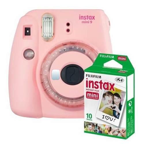 Câmera Fujifilm Instax Mini 9 Rosa Chiclete + Pack 10 Fotos